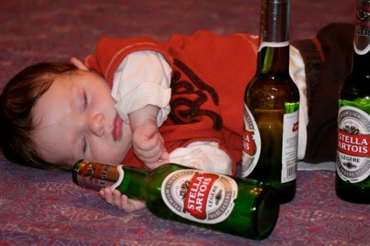 baby in drunken stupor