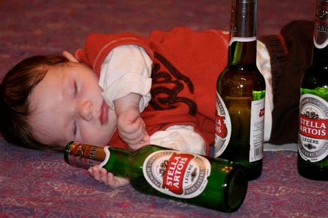 baby in drunken stupor
