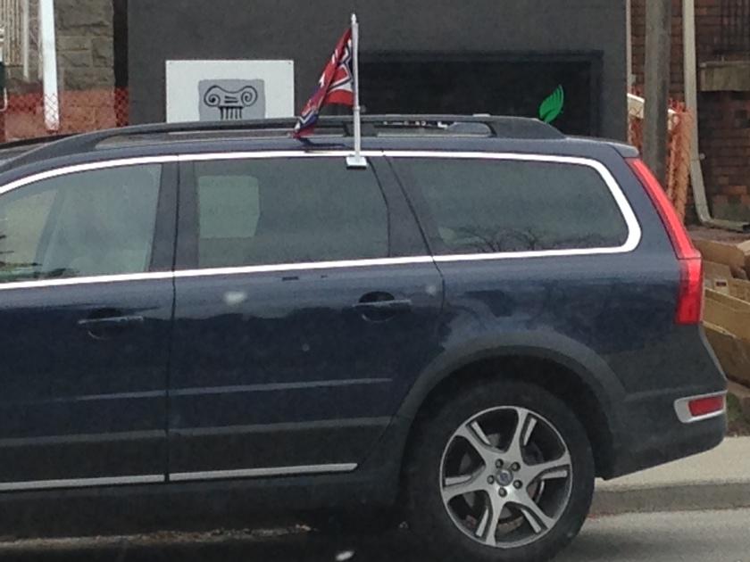 Habs flag on car